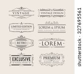 set vintage luxury calligraphy... | Shutterstock .eps vector #327695561