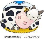chubby cow sleep. vector clip... | Shutterstock .eps vector #327697979