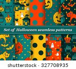 set of halloween seamless... | Shutterstock .eps vector #327708935