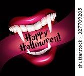 vampire smile with fangs.... | Shutterstock .eps vector #327709205