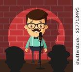 cute cartoon comedian doing... | Shutterstock .eps vector #327713495