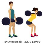 fitness man and woman with... | Shutterstock .eps vector #327713999