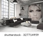 living room of a penthouse... | Shutterstock . vector #327714959