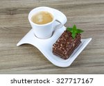 cake with coffee served mint... | Shutterstock . vector #327717167