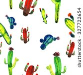 watercolor cactus set isolated... | Shutterstock . vector #327722654