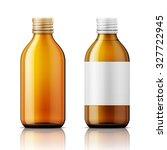template of brown glass bottle... | Shutterstock .eps vector #327722945