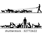Stock vector two foreground silhouettes of a man walking many dogs with all elements as separate editable objects 32772622