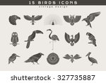 set of vintage birds icons.... | Shutterstock .eps vector #327735887