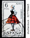 spain   circa 1967  a postage... | Shutterstock . vector #327750665