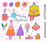 adorable set of hand drawn... | Shutterstock .eps vector #327755189