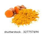 fresh turmeric roots  | Shutterstock . vector #327757694
