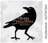 halloween card with creepy crow | Shutterstock .eps vector #327767261