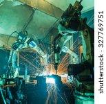 team welding robot movement... | Shutterstock . vector #327769751