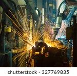 team welding robot movement... | Shutterstock . vector #327769835