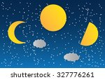 space landscape with silhouette ... | Shutterstock .eps vector #327776261