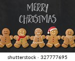 christmas card with gingerbread ...   Shutterstock . vector #327777695
