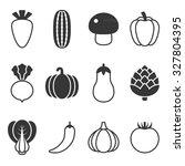 vector vegetable icons set | Shutterstock .eps vector #327804395