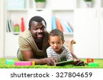 father and son paying in the... | Shutterstock . vector #327804659