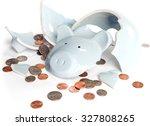 Broken Piggy Bank With Coins...