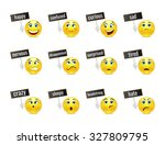different smiles emotions with... | Shutterstock .eps vector #327809795