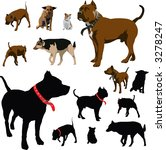 Stock vector vector colour dog illustrations and black silhouettes with red pet collar 3278247