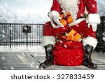Santa Claus Legs In Black Shoes