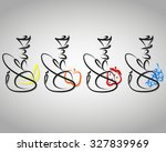 set hookahs with different... | Shutterstock .eps vector #327839969