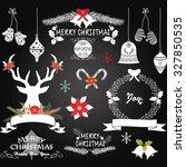 chalkboard christmas flowers... | Shutterstock .eps vector #327850535