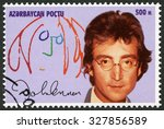 Small photo of AZERBAIJAN - CIRCA 1995: A stamp printed in Azerbaijan shows John Winston Ono Lennon (1940-1980), circa 1995