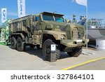 Small photo of KUBINKA, RUSSIA - JUN 18, 2015: International military-technical forum ARMY-2015. The Ã??rotected 6x6 armored vehicle Ural-63095 Typhoon-U (AFV family), produced at the Ural Automotive Plant