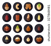 nuts and seeds vector icons set.... | Shutterstock .eps vector #327868481