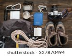 Travel Items Near Backpack On...