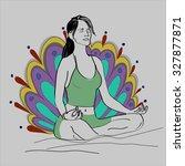 girl meditating in the lotus... | Shutterstock .eps vector #327877871