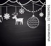 chalk drawn horizontal...   Shutterstock .eps vector #327883901