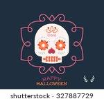 cute halloween skull... | Shutterstock .eps vector #327887729