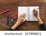 hand women writing a pen on a... | Shutterstock . vector #327888821