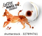 poster drawn imprint of dog and ... | Shutterstock .eps vector #327894761