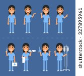 nurse characters in various...   Shutterstock .eps vector #327895961