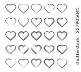 set of icons on a theme hearts