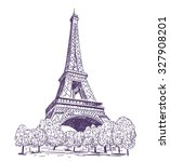 paris eiffel tower vector... | Shutterstock .eps vector #327908201