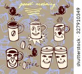 coffee cups morning set. | Shutterstock .eps vector #327910349