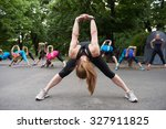 jogging people group stretching ... | Shutterstock . vector #327911825