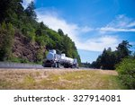 semi truck big rig with length... | Shutterstock . vector #327914081