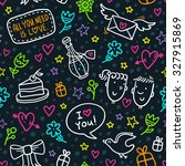 cute seamless pattern with neon ... | Shutterstock .eps vector #327915869