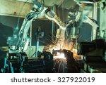 team welding robots represent... | Shutterstock . vector #327922019