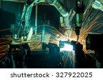 team welding robots represent... | Shutterstock . vector #327922025