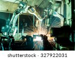team welding robots represent... | Shutterstock . vector #327922031