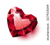 shiny isolated red ruby heart... | Shutterstock . vector #327925049