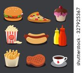 set of fast food. vector... | Shutterstock .eps vector #327925367