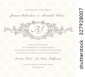 graphic wedding invitation with ... | Shutterstock .eps vector #327928007